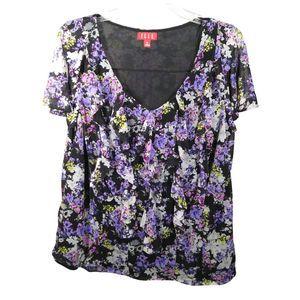 Elle Floral Ruffled V-Neck Flutter Sleeve Top 0X